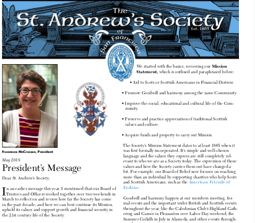 St  Andrews Society of San Francisco - May 2019 Newsletter